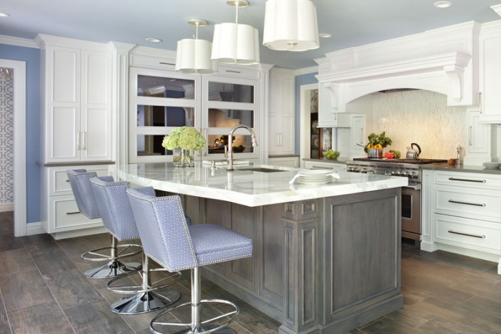 Transitional White Kitchen with Morning Mist Stain on Maple Island