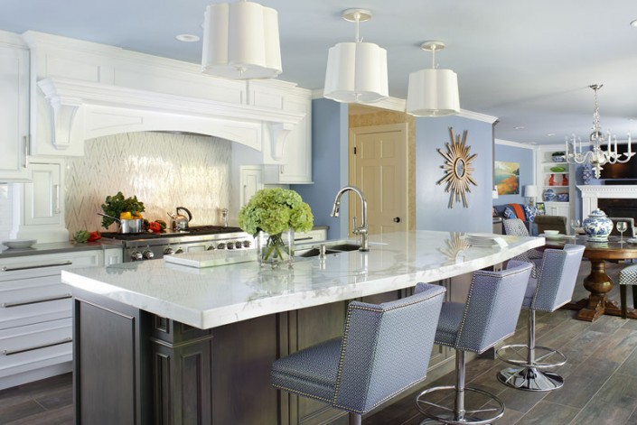 Range Hood Transitional White Kitchen with Ash Gray Island