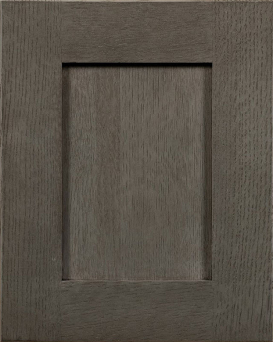 Glendale Raised Reverse Panel Door Style with Charcoal Stain on Quarter Sawn White Oak Wood