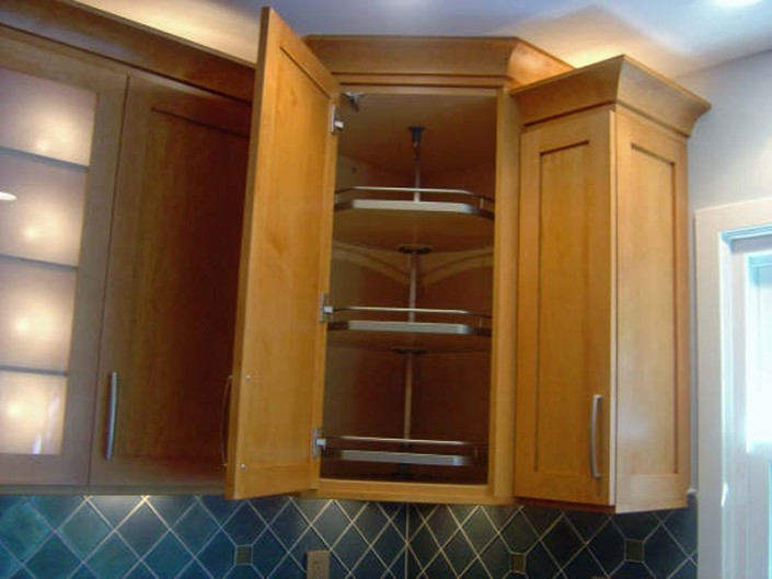 Traditional stained kitchen cabinet accessories