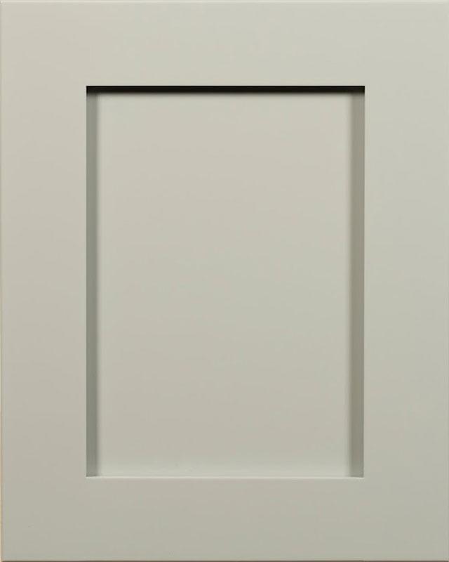 Portland Flat Panel Door Style with Gray Matters Enamel on Maple Wood