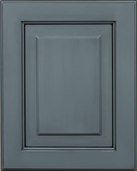 Preston Raised Panel Door Style with Slate Enamel with Bold Brushed Black Shadow on Maple Wood