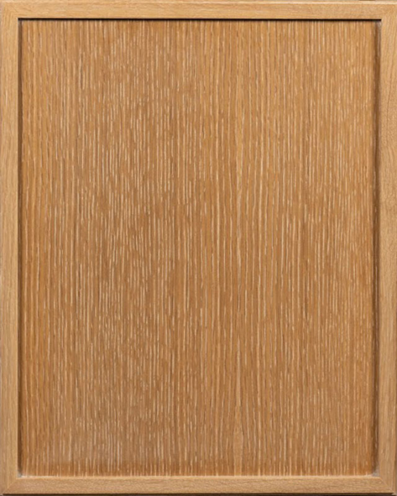 Topeka Door Style with Natural Stain and Light White Shadow on Rift Cut White Oak Wood