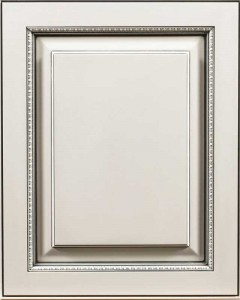 Alameda Raised Panel Door Style with Frosty White Enamel and Bold Pewter Shadow on Maple Wood