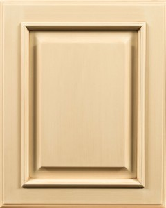 Aspen Raised Panel Door Style with Vanilla Cream Enamel and Lite Brown Brushed Shadow on Maple
