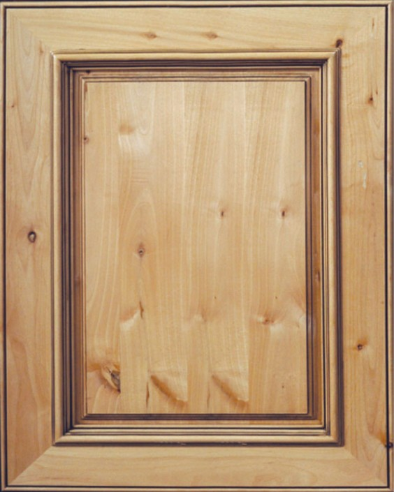 Brookfield Raised Panel Door with Natural Stain and Lite Coffee Shadow on Knotty Alder Wood