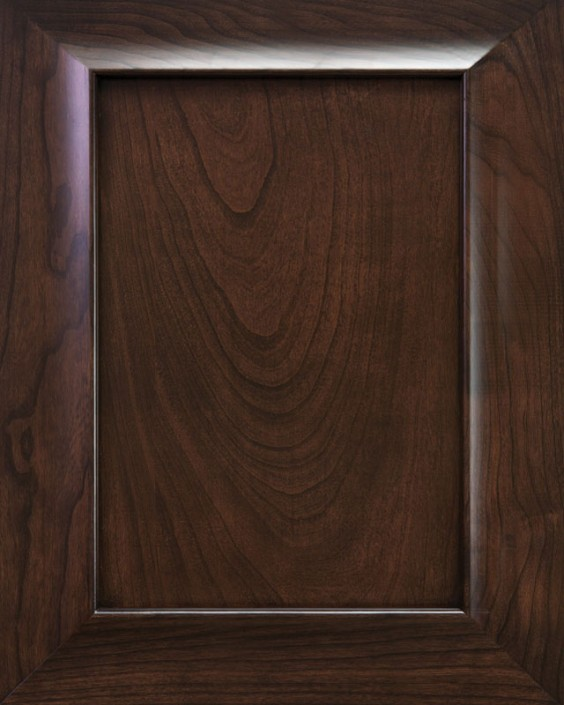 Coastal Flat Panel Door Style with Saddle Brown Stain on Cherry Wood