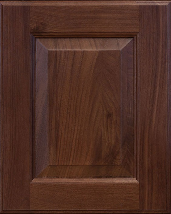 Cooperstown Raised Panel Door Style with Saddle Brown Stain on Walnut Wood