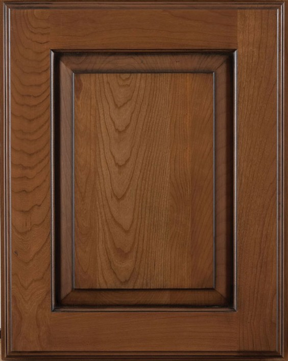 Hillcrest Raised Panel Door Style with Colonial Stain and Bold Black Shadow on Cherry Wood