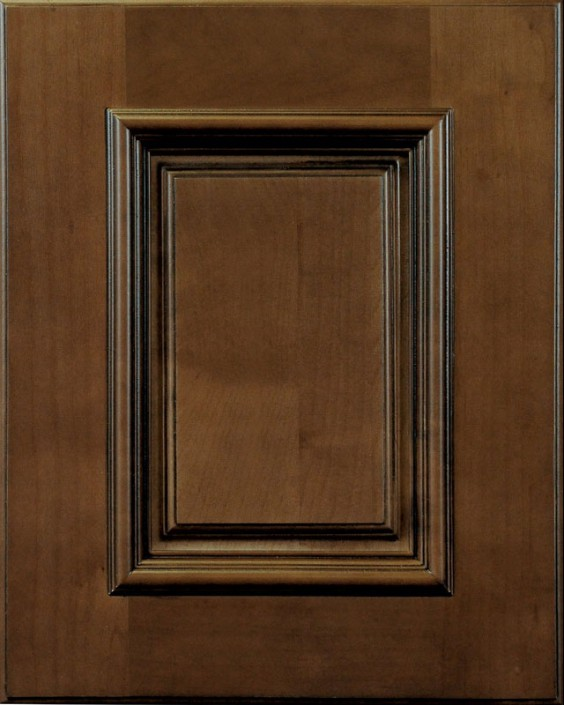 Kensington Raised Panel Door Style with Saddle Brown Stain and Lite Black Shadow on Maple Wood
