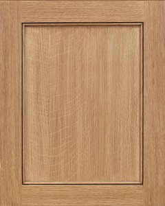 Monticello Flat Panel Door Style with Natural Stain on Quarter Sawn White Oak Wood