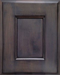 Oasis Flat Panel Door Style with Morning Mist Stain and Bold Black Shadow on Alder Wood