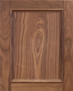 Rainer Flat Panel Door Style with Natural Stain on Walnut Wood
