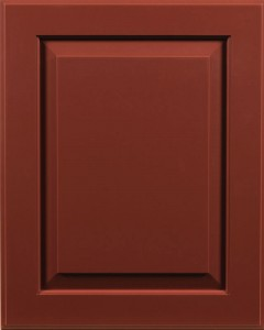 Ridgecrest Raised Panel Door Style with Barn Red Enamel on Maple Wood (Barn Red was discontinued in 2017)