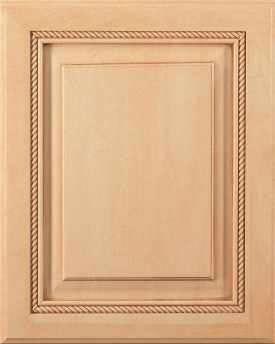 Saxony Raised Panel Door Style with Natural Stain and Bold Brown Shadow on Maple Wood