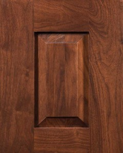 Valley Forge Raised Panel Door Style with Saddle Brown Finish on Walnut Wood