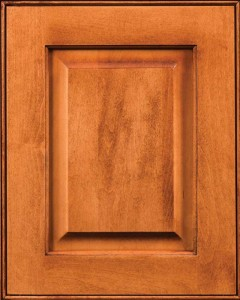Yellowstone Raised Panel Door Style with Auburn Finish on Maple Wood