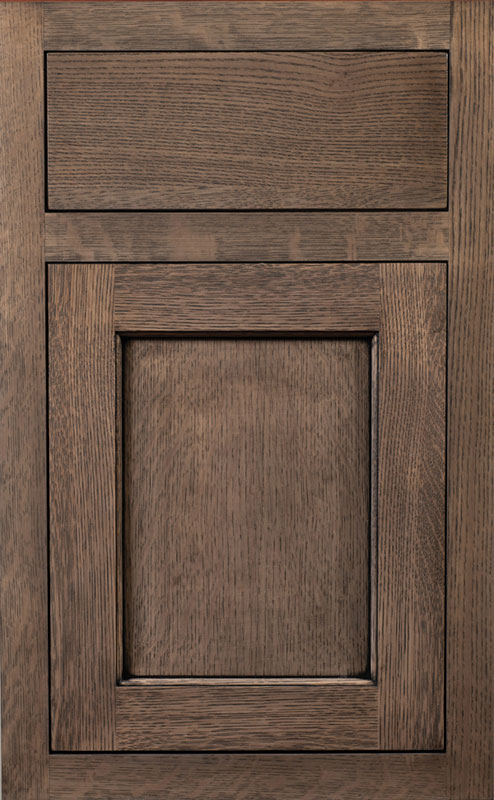 Square Inset Overlay shown on a Yellowstone Door with Morning Mist Enamel with Bold Black Shadow on Maple