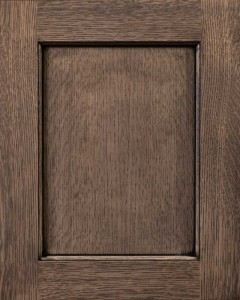 Yellowstone Flat Panel Door Style with Morning Mist Stain and Bold Black Shadow on Quarter Sawn White Oak Wood