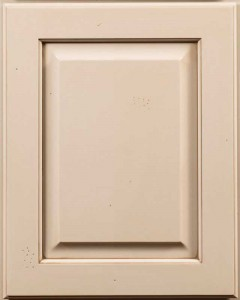 Yellowstone Raised Panel Door Style with Sandstone Enamel, Lite brown Shadow and Worn Distressing on Maple Wood